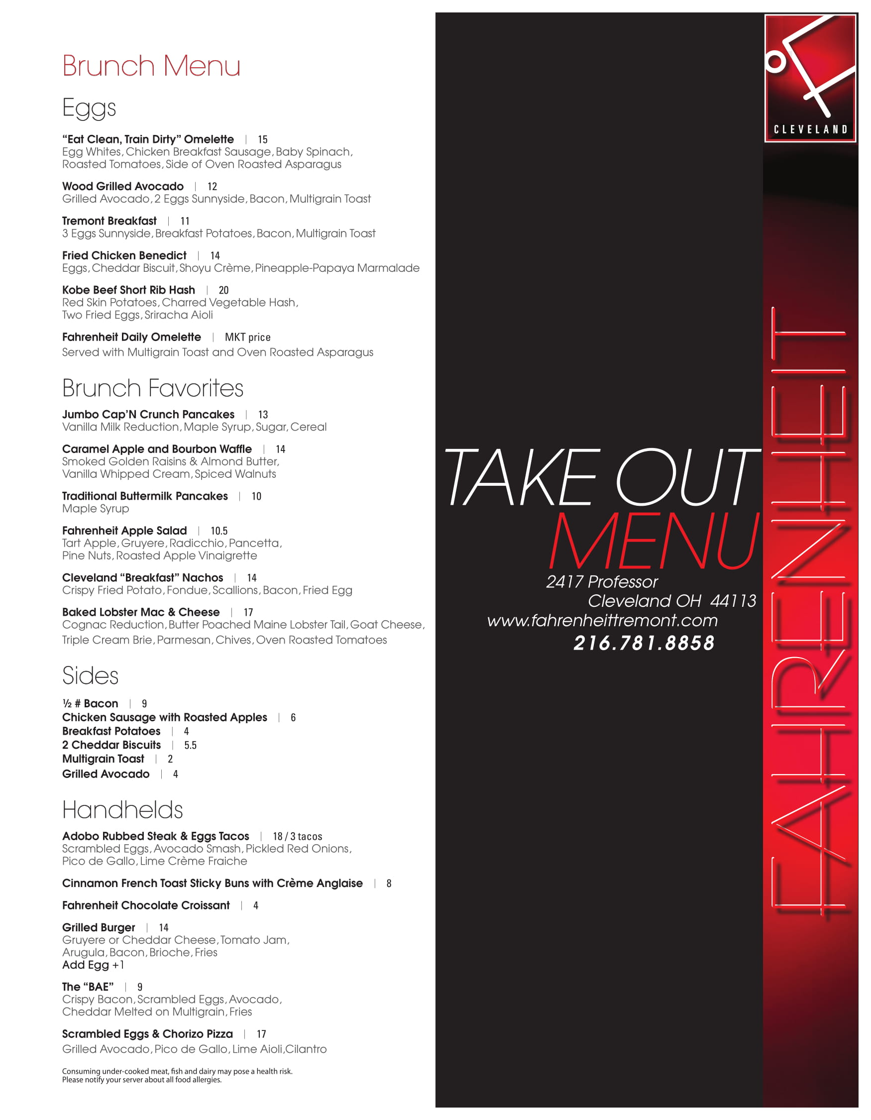 Take out menu fahrenheit restaurant cleveland for Take out menu