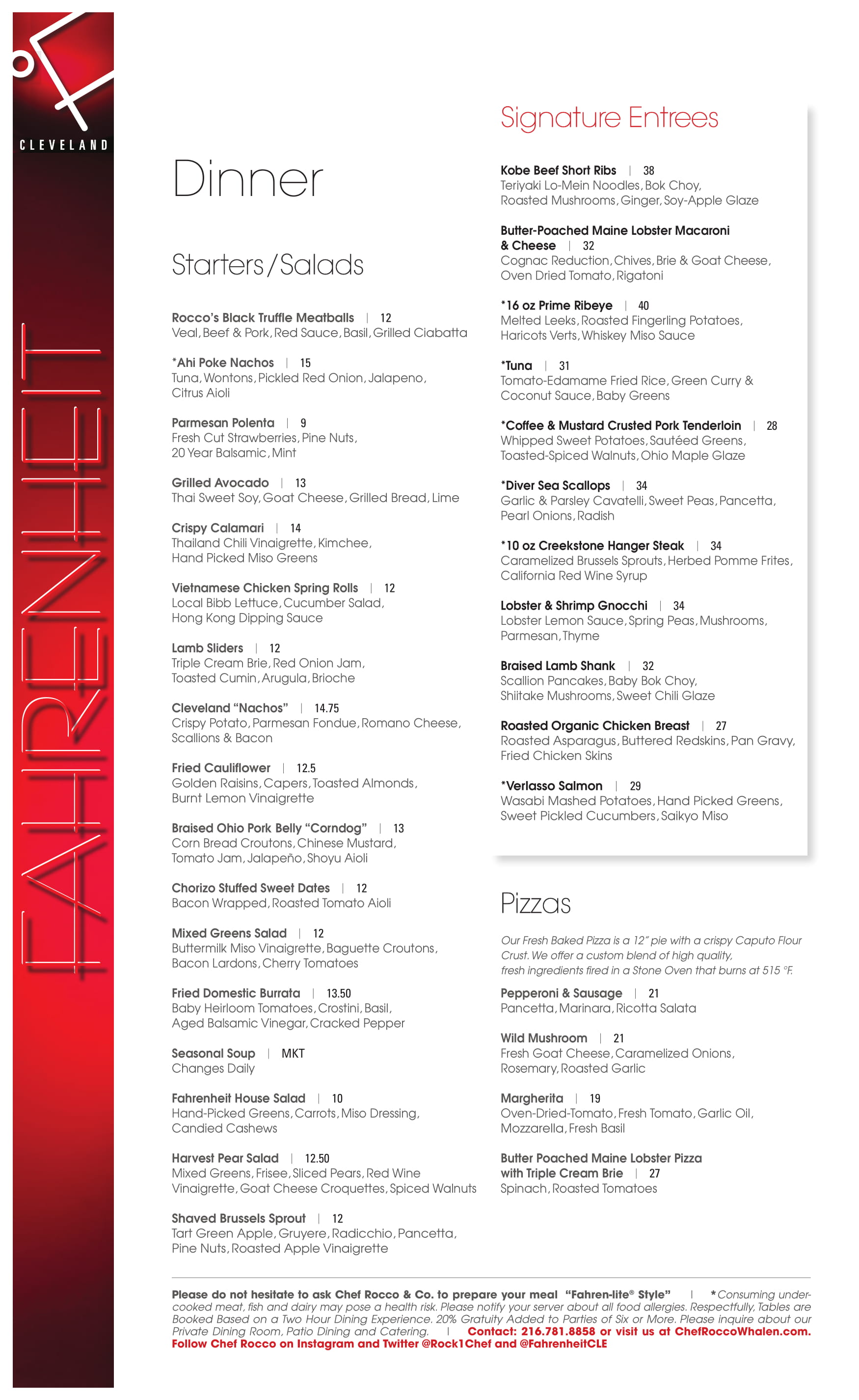 Dinner & Vegan Menu - Fahrenheit Restaurant Cleveland